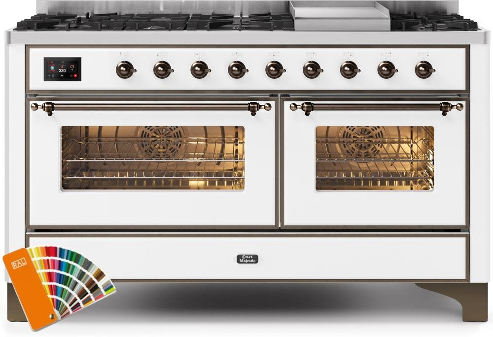 "Majestic II Series Freestanding Dual Fuel Range with 7 Sealed Burners   Griddle   Dual Ovens  TFT Oven Touch Control Display   Bronze Trim   in Custom RAL Color""UM15FE3RALBLP 60 - America Best Appliances, LLC"