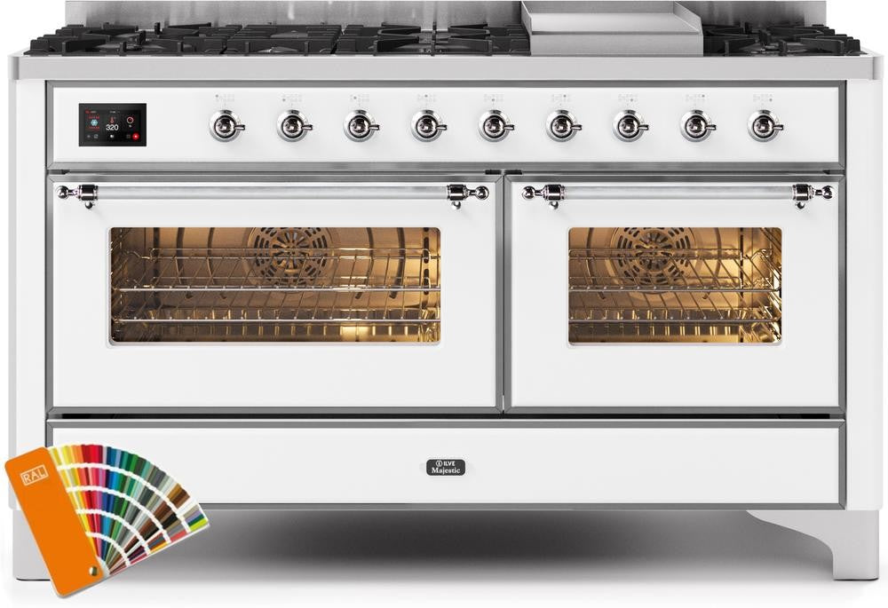 "Majestic II Series Freestanding Dual Fuel Range with 7 Sealed Burners   Griddle   Dual Ovens   TFT Oven Touch Control Display   Chrome Trim   in Custom RAL Color""UM15FE3RALCLP 60 - America Best Appliances, LLC"