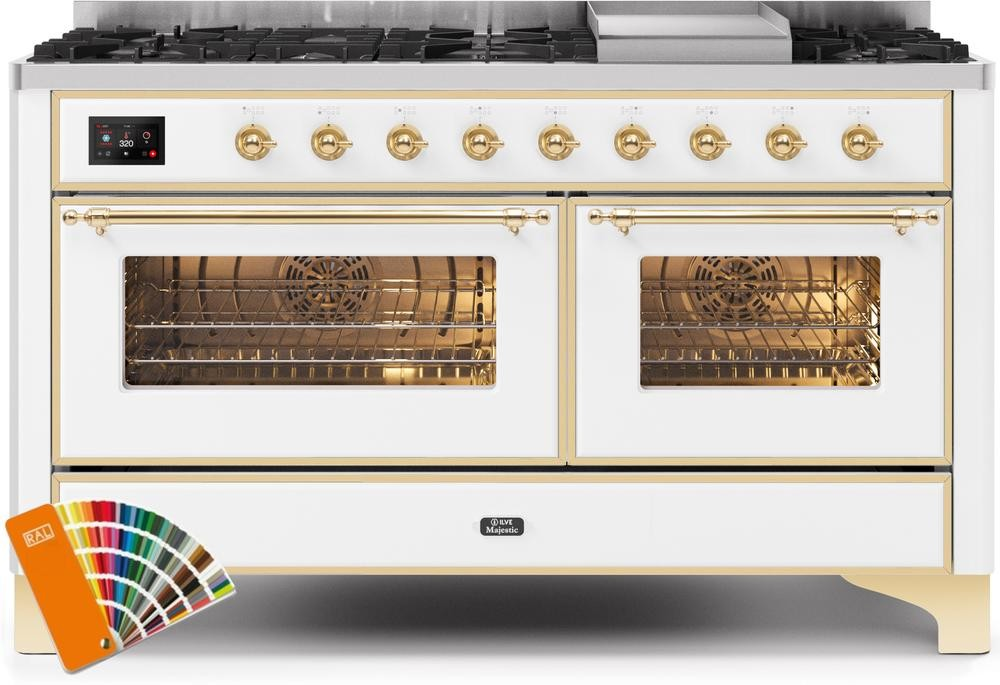 "Majestic II Series Freestanding Dual Fuel Range with 7 Sealed Burners   Griddle   Dual Ovens   TFT Oven Touch Control Display   Brass Trim   in Custom RAL Color""UM15FE3RALG 60 - America Best Appliances, LLC"