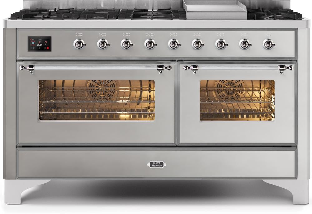 "Majestic II Series Freestanding Dual Fuel Liquid Propane Range with 7 Sealed Burners   Griddle   Dual Ovens   TFT Oven Touch Control Display   Chrome Trim   in Stainless Steel""UM15FE3SSCLP 60 - America Best Appliances, LLC"