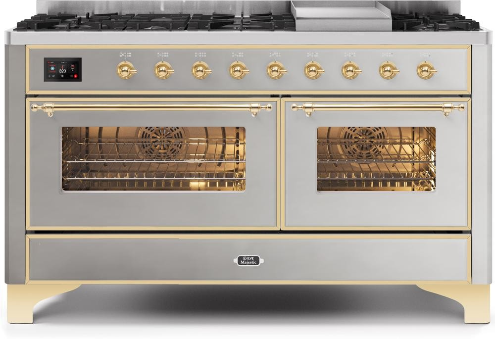 "Majestic II Series Freestanding Dual Fuel Liquid Propane Range with 7 Sealed Burners   Griddle   Dual Ovens   TFT Oven Touch Control Display   Brass Trim   in Stainless Steel""UM15FE3SSGLP 60 - America Best Appliances, LLC"