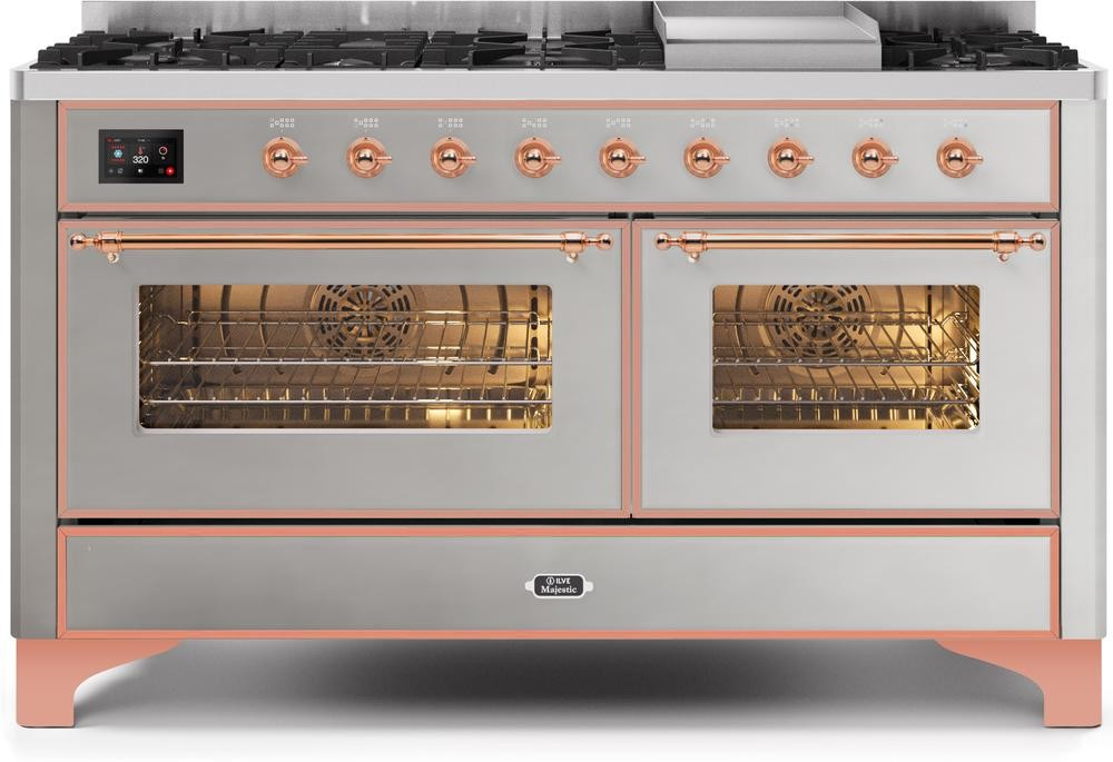 "Majestic II Series Freestanding Dual Fuel Liquid Propane Range with 7 Sealed Burners   Griddle   Dual Ovens   TFT Oven Touch Control Display   Copper Trim   in Stainless Steel""UM15FE3SSPLP 60 - America Best Appliances, LLC"