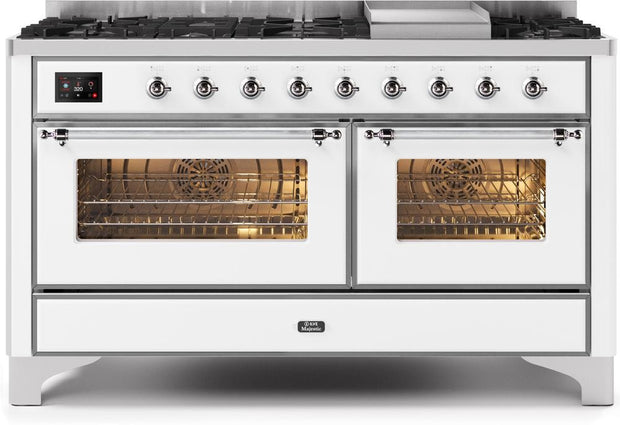 "Majestic II Series 60"" Dual Fuel Range with 9 Burners (Chrome/White) - America Best Appliances, LLC"