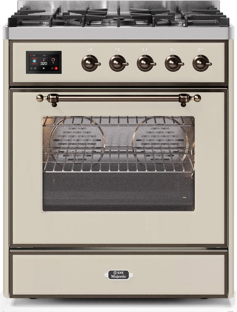 "Majestic II Series Freestanding Dual Fuel Range with 5 Sealed Brass Non Stick Coated Burners   2.3 cu. ft. Oven Capacity   TFT Oven Control Display   Triple Glass Cool Door Oven   Bronze Trim   in Antique White""UM30DNE3AWB 30 - America Best Appliances, LLC"