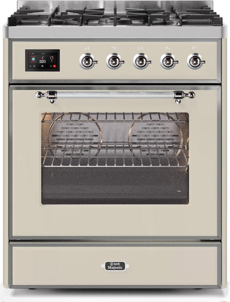 "Majestic II Series Freestanding Dual Fuel Range with 5 Sealed Brass Non Stick Coated Burners   2.3 cu. ft. Oven Capacity   TFT Oven Control Display   Triple Glass Cool Door Oven   Chrome Trim   in Antique White""UM30DNE3AWC 30 - America Best Appliances, LLC"
