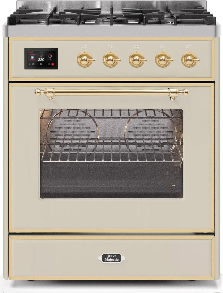 "Majestic II Series Freestanding Liquid Propane Dual Fuel Range with 5 Sealed Brass Non Stick Coated Burners   2.3 cu. ft. Oven Capacity   TFT Oven Control Display   Triple Glass Cool Door Oven   Brass Trim   in Antique White""UM30DNE3AWGLP 30 - America Best Appliances, LLC"