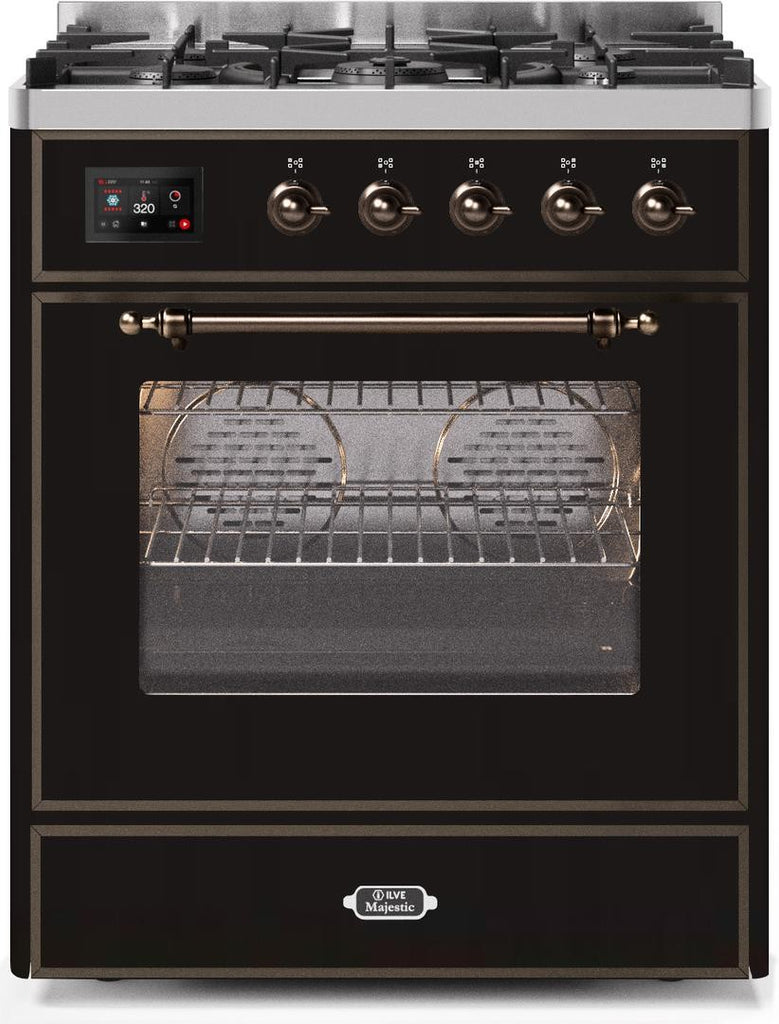 "Majestic II Series Freestanding Liquid Propane Dual Fuel Range with 5 Sealed Brass Non Stick Coated Burners   2.3 cu. ft. Oven Capacity   TFT Oven Control Display   Triple Glass Cool Door Oven  Bronze Trim   in Glossy Black""UM30DNE3BKBLP 30 - America Best Appliances, LLC"
