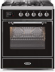 "Majestic II Series Freestanding Dual Fuel Range with 5 Sealed Brass Non Stick Coated Burners   2.3 cu. ft. Oven Capacity   TFT Oven Control Display   Triple Glass Cool Door Oven   Chrome Trim   in Glossy Black""UM30DNE3BKC 30 - America Best Appliances, LLC"
