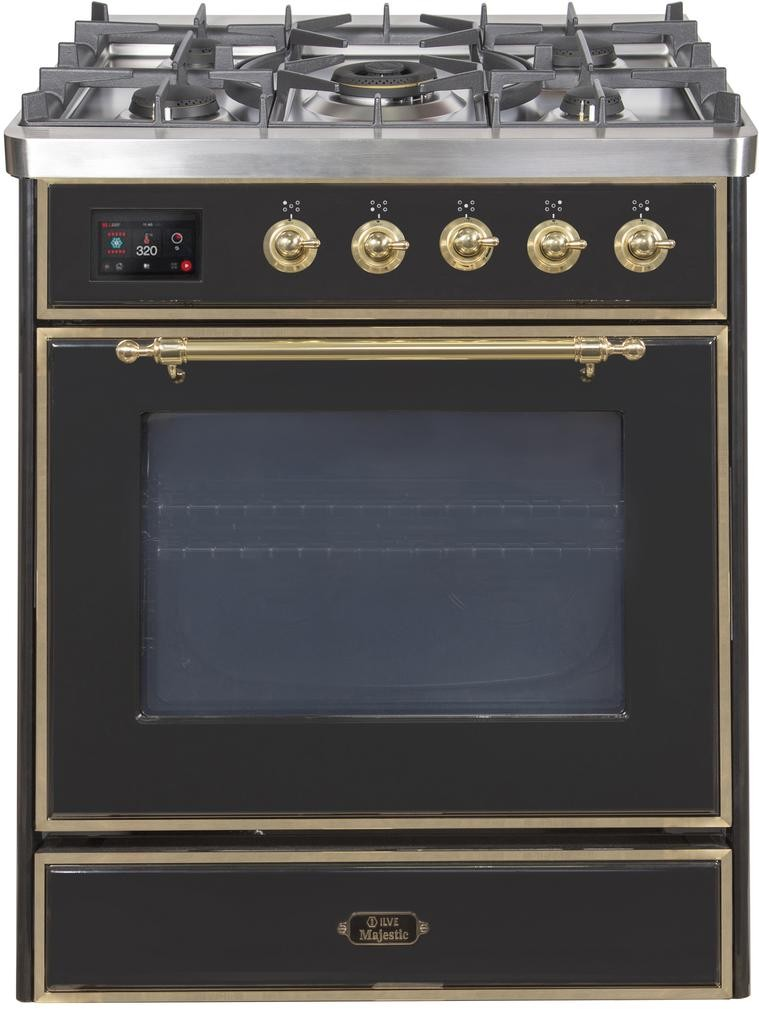 "Majestic II Series Freestanding Liquid Propane Dual Fuel Range with 5 Sealed Brass Non Stick Coated Burners   2.3 cu. ft. Oven Capacity   TFT Oven Control Display   Triple Glass Cool Door Oven   Brass Trim   in Glossy Black""UM30DNE3BKGLP 30 - America Best Appliances, LLC"