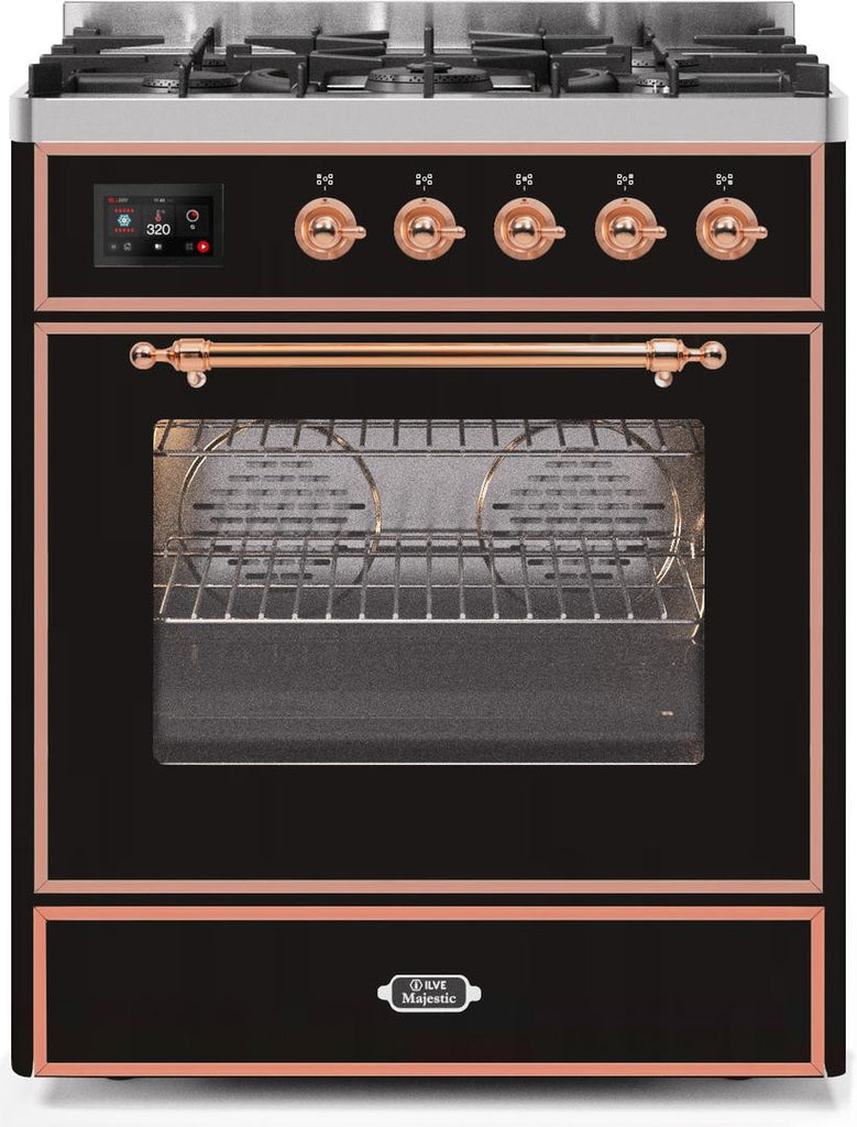 "Majestic II Series Freestanding Dual Fuel Range with 5 Sealed Brass Non Stick Coated Burners   2.3 cu. ft. Oven Capacity   TFT Oven Control Display   Triple Glass Cool Door Oven   Copper Trim   in Glossy Black""UM30DNE3BKP 30 - America Best Appliances, LLC"