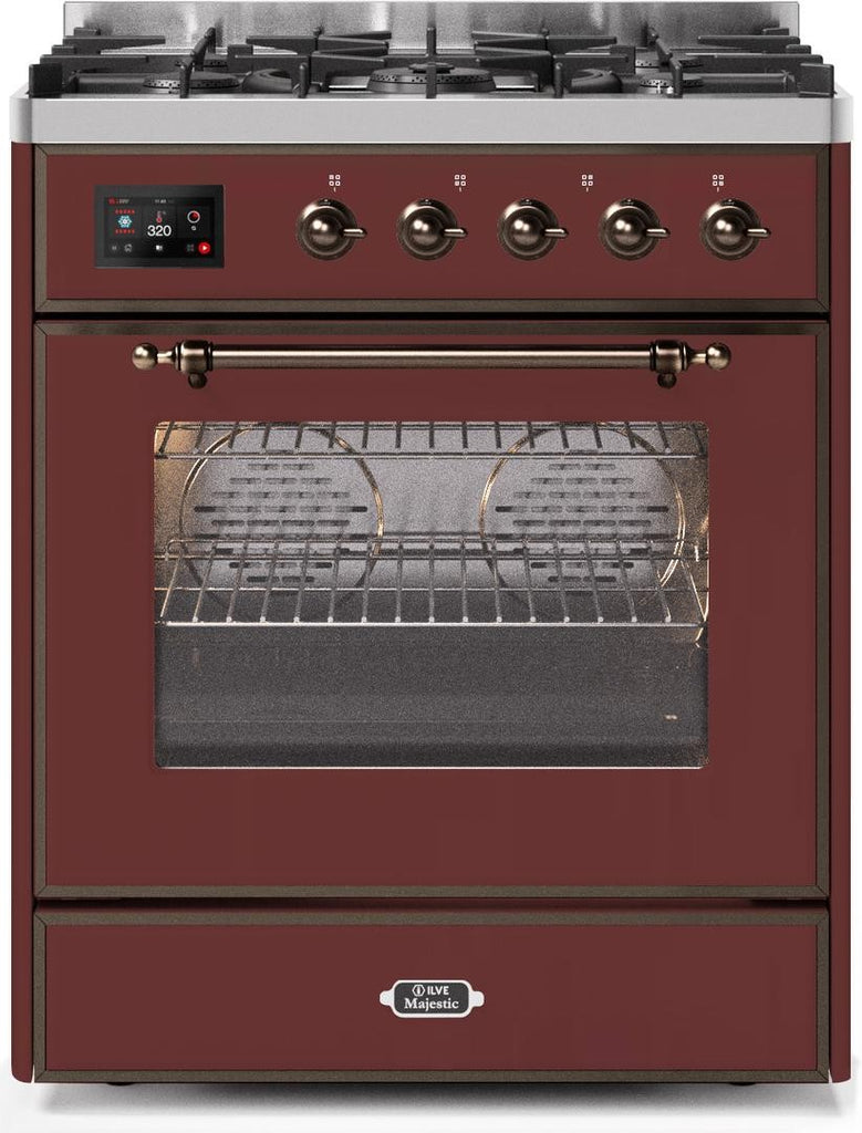 "Majestic II Series Freestanding Dual Fuel Range with 5 Sealed Brass Non Stick Coated Burners   2.3 cu. ft. Oven Capacity   TFT Oven Control Display   Triple Glass Cool Door Oven   Bronze Trim   in Burgundy""UM30DNE3BUB 30 - America Best Appliances, LLC"