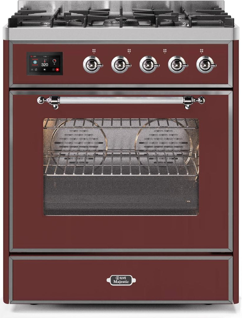 "Majestic II Series Freestanding Liquid Propane Dual Fuel Range with 5 Sealed Brass Non Stick Coated Burners   2.3 cu. ft. Oven Capacity   TFT Oven Control Display   Triple Glass Cool Door Oven   Chrome Trim   in Burgundy""UM30DNE3BUCLP 30 - America Best Appliances, LLC"