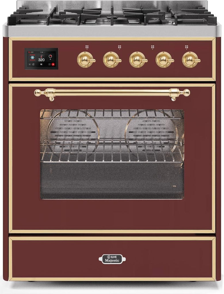 "Majestic II Series Freestanding Liquid Propane Dual Fuel Range with 5 Sealed Brass Non Stick Coated Burners   2.3 cu. ft. Oven Capacity   TFT Oven Control Display   Triple Glass Cool Door Oven   Brass Trim   in Burgundy""UM30DNE3BUGLP 30 - America Best Appliances, LLC"