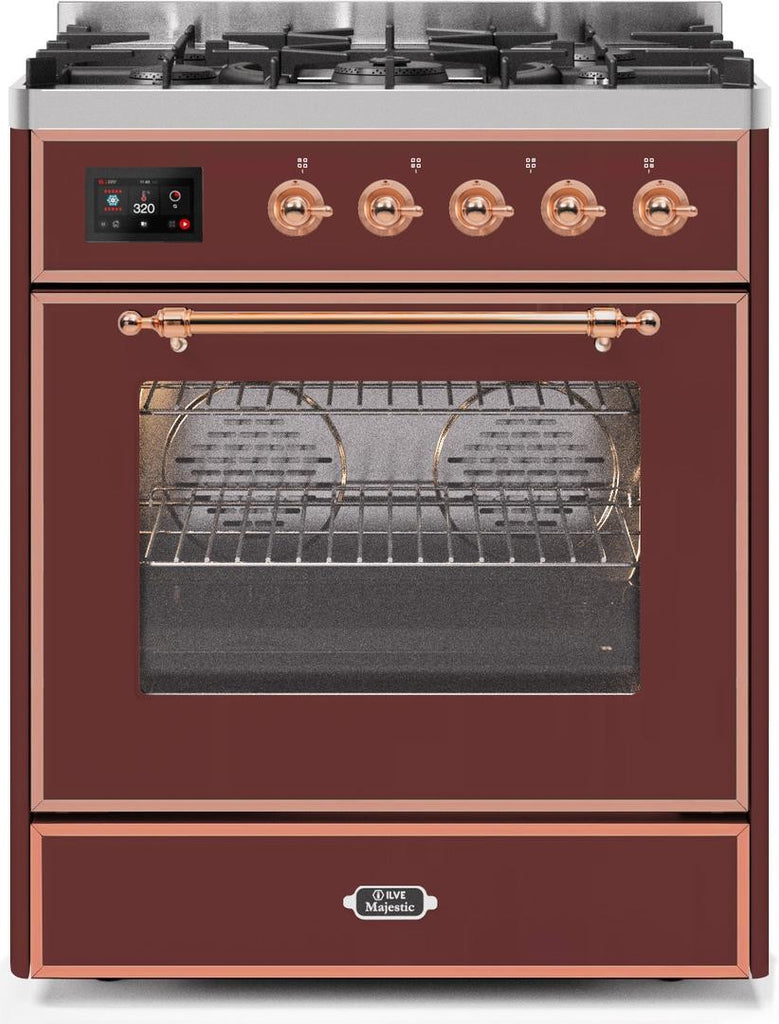 "Majestic II Series Freestanding Dual Fuel Range with 5 Sealed Brass Non Stick Coated Burners   2.3 cu. ft. Oven Capacity   TFT Oven Control Display   Triple Glass Cool Door Oven   Copper Trim   in Burgundy""UM30DNE3BUP 30 - America Best Appliances, LLC"
