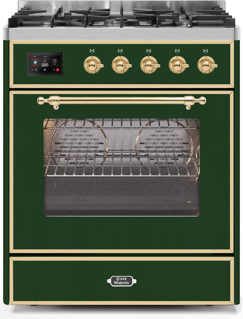 "Majestic II Series Freestanding Liquid Propane Dual Fuel Range with 5 Sealed Brass Non Stick Coated Burners   2.3 cu. ft. Oven Capacity   TFT Oven Control Display   Triple Glass Cool Door Oven   Brass Trim   in Emerald Green""UM30DNE3EGGLP 30 - America Best Appliances, LLC"