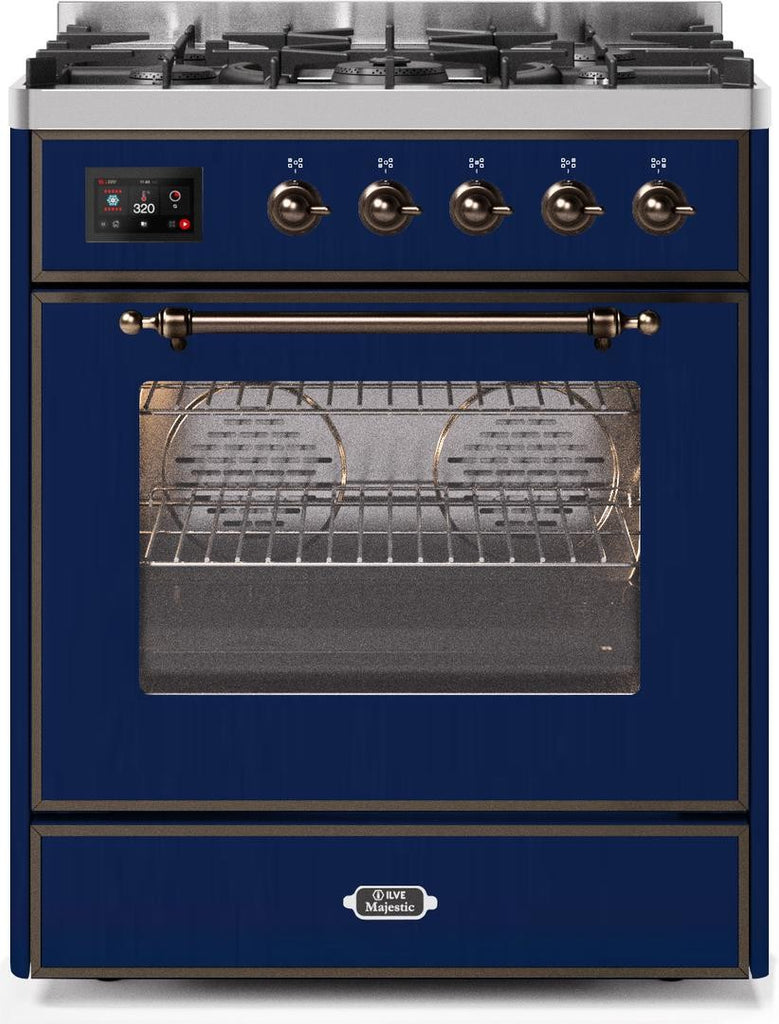 "Majestic II Series Freestanding Dual Fuel Range with 5 Sealed Brass Non Stick Coated Burners   Griddle   2.3 cu. ft. Oven Capacity   TFT Oven Control Display   Triple Glass Cool Door Oven   Bronze Trim   in Midnight Blue""UM30DNE3MBB 30 - America Best Appliances, LLC"