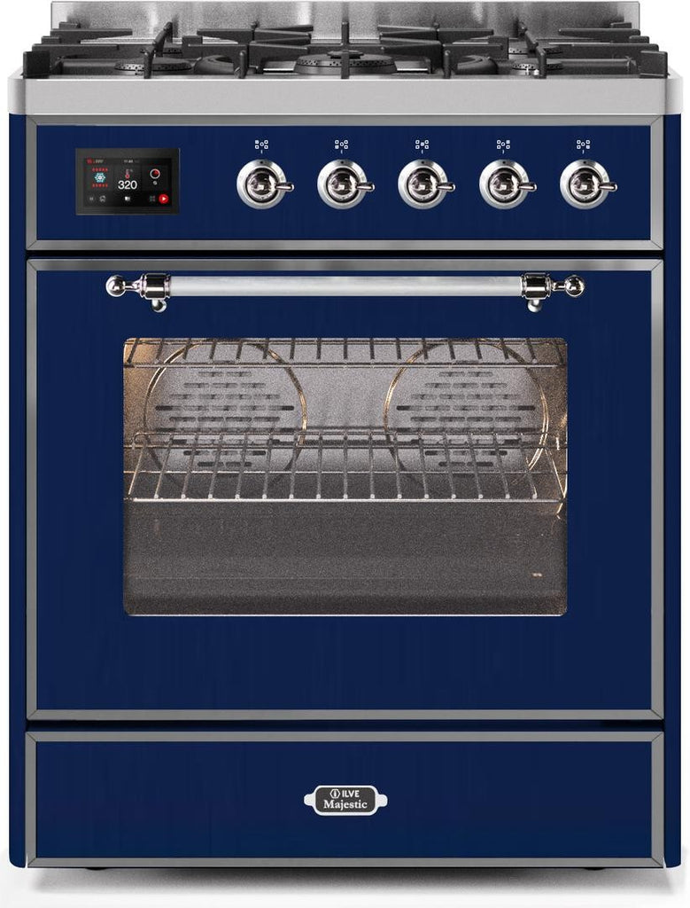 "Majestic II Series Freestanding Liquid Propane Dual Fuel Range with 5 Sealed Brass Non Stick Coated Burners   2.3 cu. ft. Oven Capacity   TFT Oven Control Display   Triple Glass Cool Door Oven   Chrome Trim   in Midnight Blue""UM30DNE3MBCLP 30 - America Best Appliances, LLC"