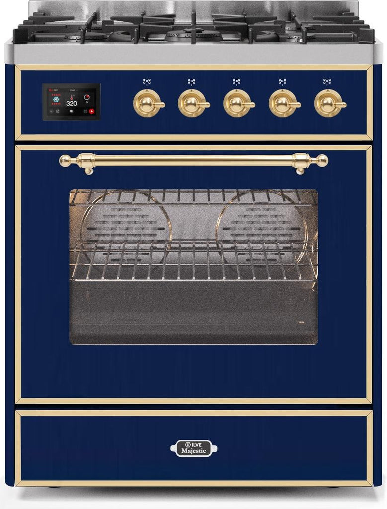 "Majestic II Series Freestanding Liquid Propane Dual Fuel Range with 5 Sealed Brass Non Stick Coated Burners   2.3 cu. ft. Oven Capacity   TFT Oven Control Display   Triple Glass Cool Door Oven   Brass Trim   in Midnight Blue""UM30DNE3MBGLP 30 - America Best Appliances, LLC"