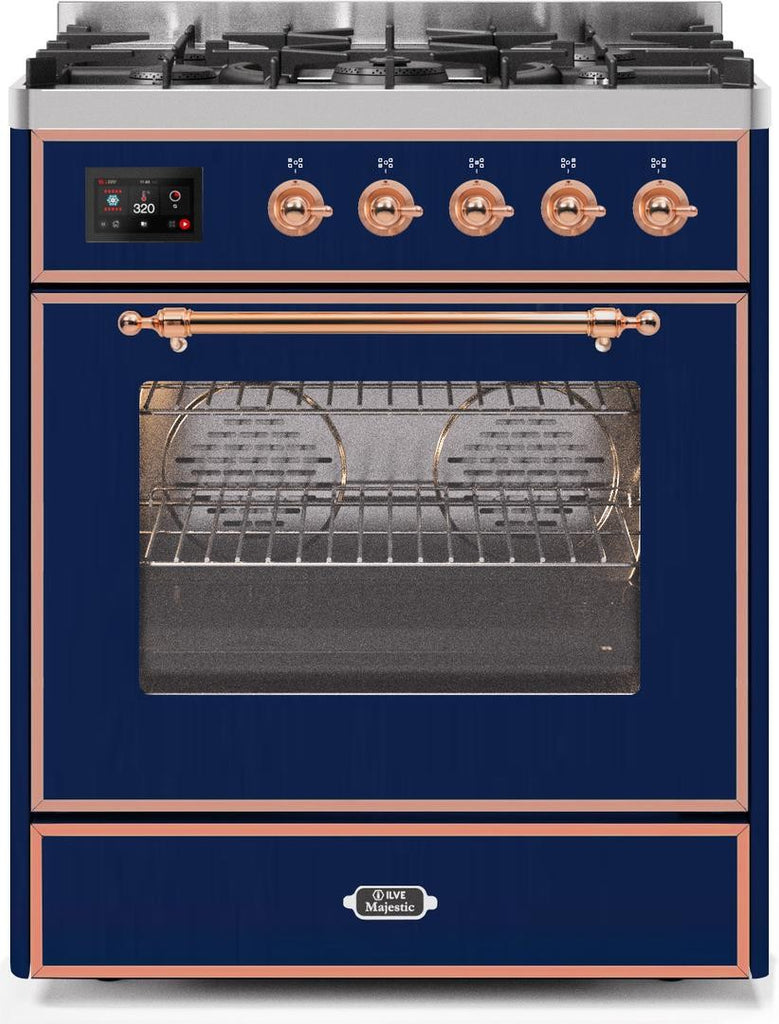 "Majestic II Series Freestanding Liquid Propane Dual Fuel Range with 5 Sealed Brass Non Stick Coated Burners   2.3 cu. ft. Oven Capacity   TFT Oven Control Display   Triple Glass Cool Door Oven   Copper Trim   in Midnight Blue""UM30DNE3MBPLP 30 - America Best Appliances, LLC"