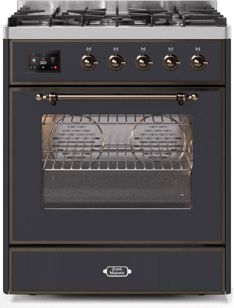 "Majestic II Series Freestanding Liquid Propane Dual Fuel Range with 5 Sealed Brass Non Stick Coated Burners   2.3 cu. ft. Oven Capacity   TFT Oven Control Display   Triple Glass Cool Door Oven   Bronze Trim   in Matte Graphite""UM30DNE3MGBLP 30 - America Best Appliances, LLC"