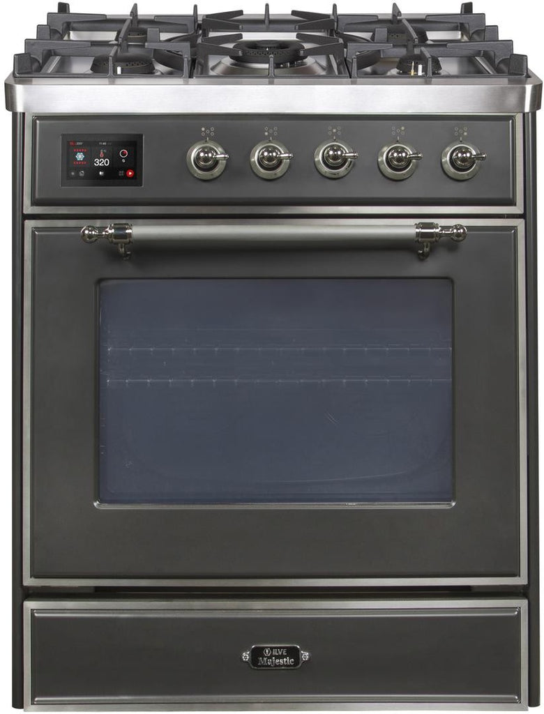 "Majestic II Series Freestanding Dual Fuel Range with 5 Sealed Brass Non Stick Coated Burners   2.3 cu. ft. Oven Capacity   TFT Oven Control Display   Triple Glass Cool Door Oven   Chrome Trim   in Matte Graphite""UM30DNE3MGC 30 - America Best Appliances, LLC"
