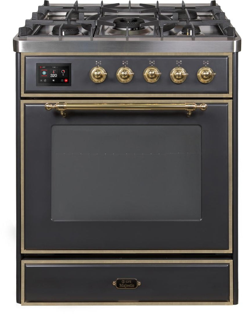"Majestic II Series Freestanding Liquid Propane be Dual Fuel Range with 5 Sealed Brass Non Stick Coated Burners   2.3 cu. ft. Oven Capacity   TFT Oven Control Display   Triple Glass Cool Door Oven   Brass Trim   in Matte Graphite""UM30DNE3MGGLP 30 - America Best Appliances, LLC"