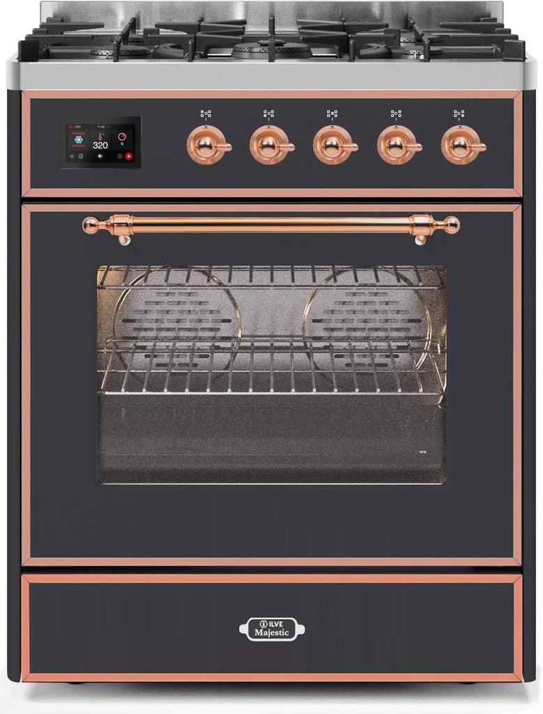 "Majestic II Series Freestanding Dual Fuel Range with 5 Sealed Brass Non Stick Coated Burners   2.3 cu. ft. Oven Capacity   TFT Oven Control Display   Triple Glass Cool Door Oven   Copper Trim   in Matte Graphite""UM30DNE3MGP 30 - America Best Appliances, LLC"