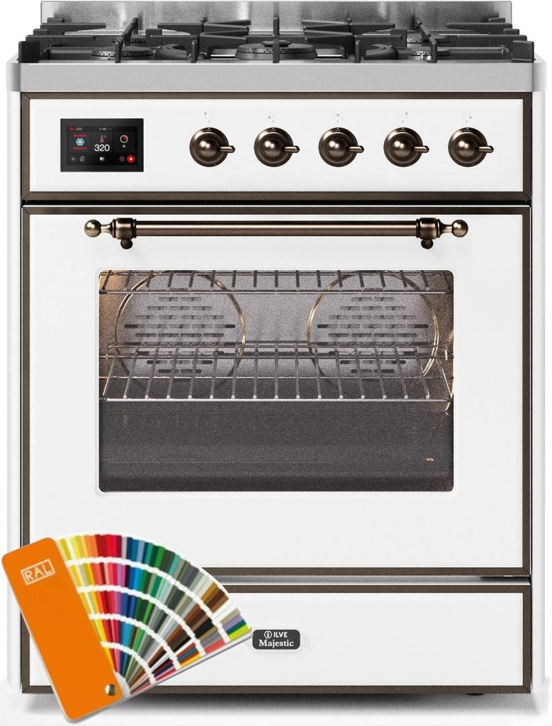 "Majestic II Series Freestanding Dual Fuel Range with 5 Sealed Brass Non Stick Coated Burners   2.3 cu. ft. Oven Capacity   TFT Oven Control Display   Triple Glass Cool Door Oven   Bronze Trim   in Custom RAL Color""UM30DNE3RALB 30 - America Best Appliances, LLC"