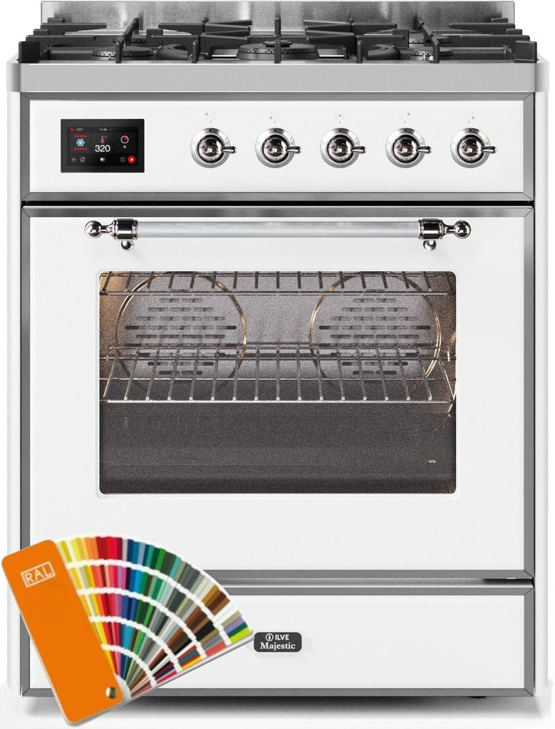 "Majestic II Series Freestanding Dual Fuel Range with 5 Sealed Brass Non Stick Coated Burners   2.3 cu. ft. Oven Capacity   TFT Oven Control Display   Triple Glass Cool Door Oven   Chrome Trim   in Custom RAL Color""UM30DNE3RALC 30 - America Best Appliances, LLC"