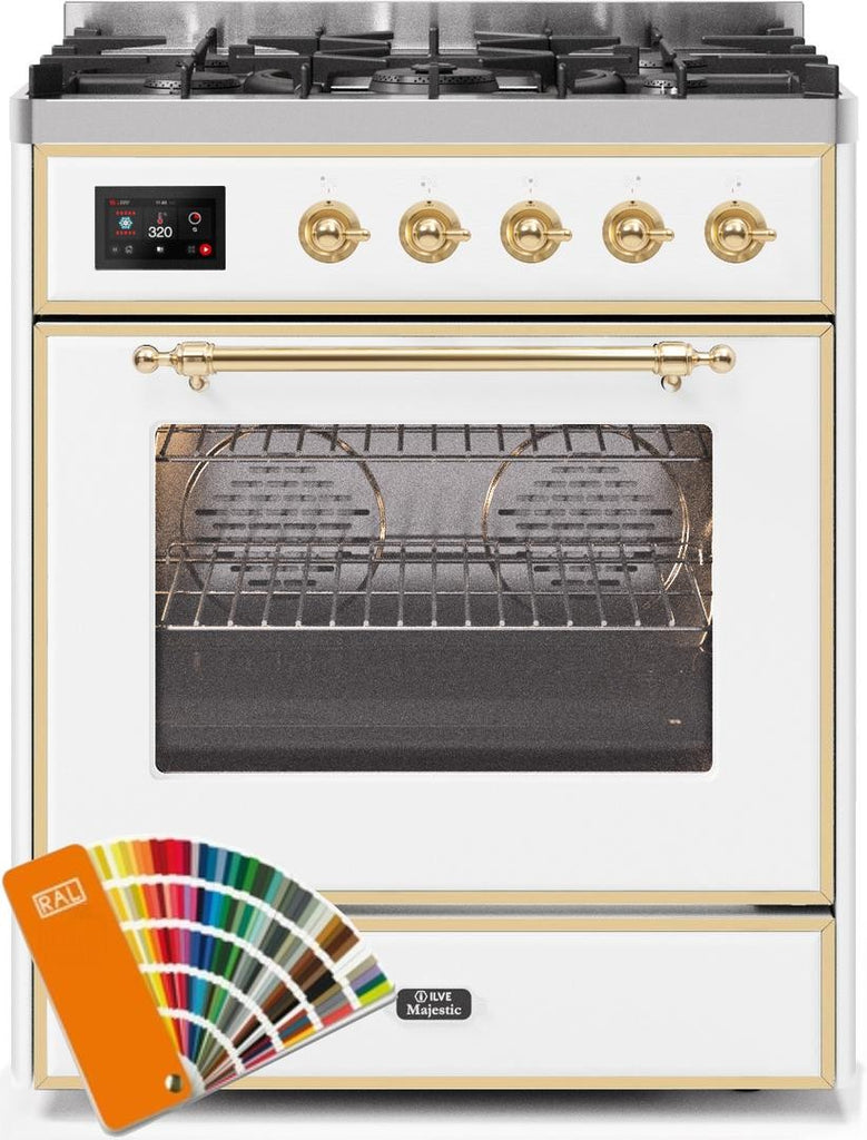"Majestic II Series Freestanding Dual Fuel Range with 5 Sealed Brass Non Stick Coated Burners   2.3 cu. ft. Oven Capacity   TFT Oven Control Display   Triple Glass Cool Door Oven   Brass Trim   in Custom RAL Color""UM30DNE3RALG 30 - America Best Appliances, LLC"