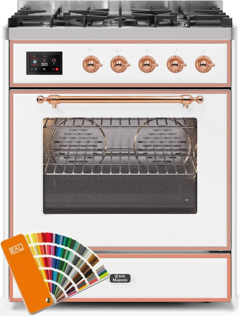 "Majestic II Series Freestanding Liquid Propane Dual Fuel Range with 5 Sealed Brass Non Stick Coated Burners   2.3 cu. ft. Oven Capacity   TFT Oven Control Display   Triple Glass Cool Door Oven   Copper Trim   in Custom RAL Color""UM30DNE3RALPLP 30 - America Best Appliances, LLC"
