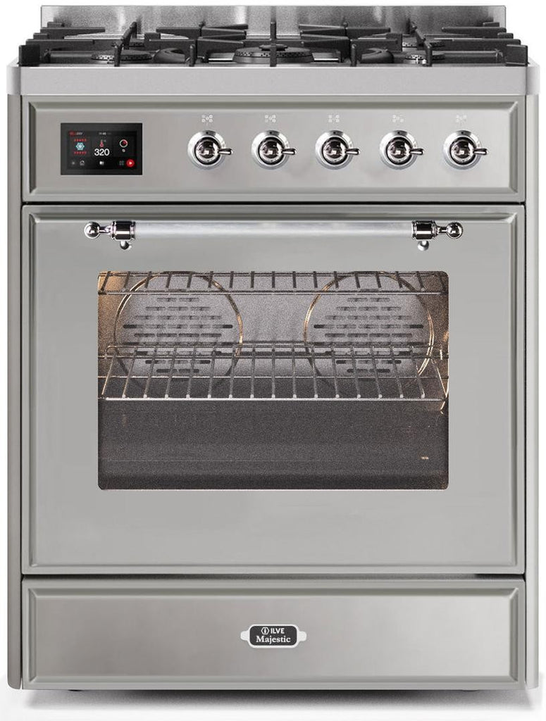 "Majestic II Series Freestanding Dual Fuel Range with 5 Sealed Brass Non Stick Coated Burners   2.3 cu. ft. Oven Capacity   TFT Oven Control Display   Triple Glass Cool Door Oven   Chrome Trim   in Stainless Steel""UM30DNE3SSC 30 - America Best Appliances, LLC"