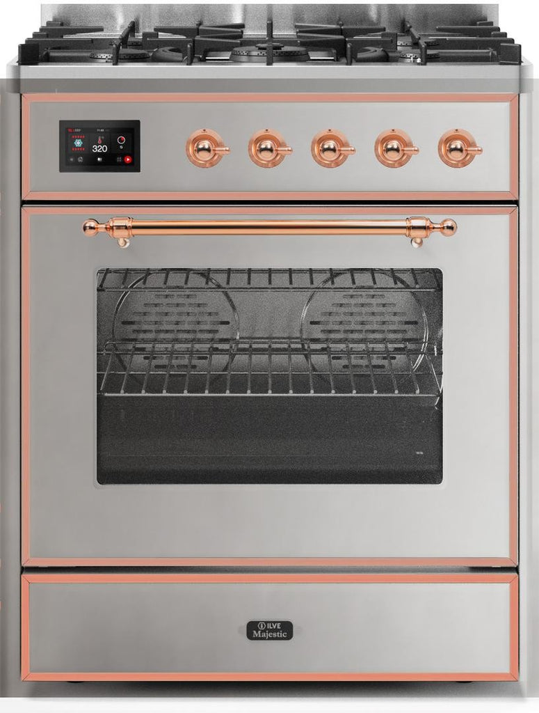 "Majestic II Series Freestanding Dual Fuel Range with 5 Sealed Brass Non Stick Coated Burners   2.3 cu. ft. Oven Capacity   TFT Oven Control Display   Triple Glass Cool Door Oven   Copper Trim   in Stainless Steel""UM30DNE3SSP 30 - America Best Appliances, LLC"