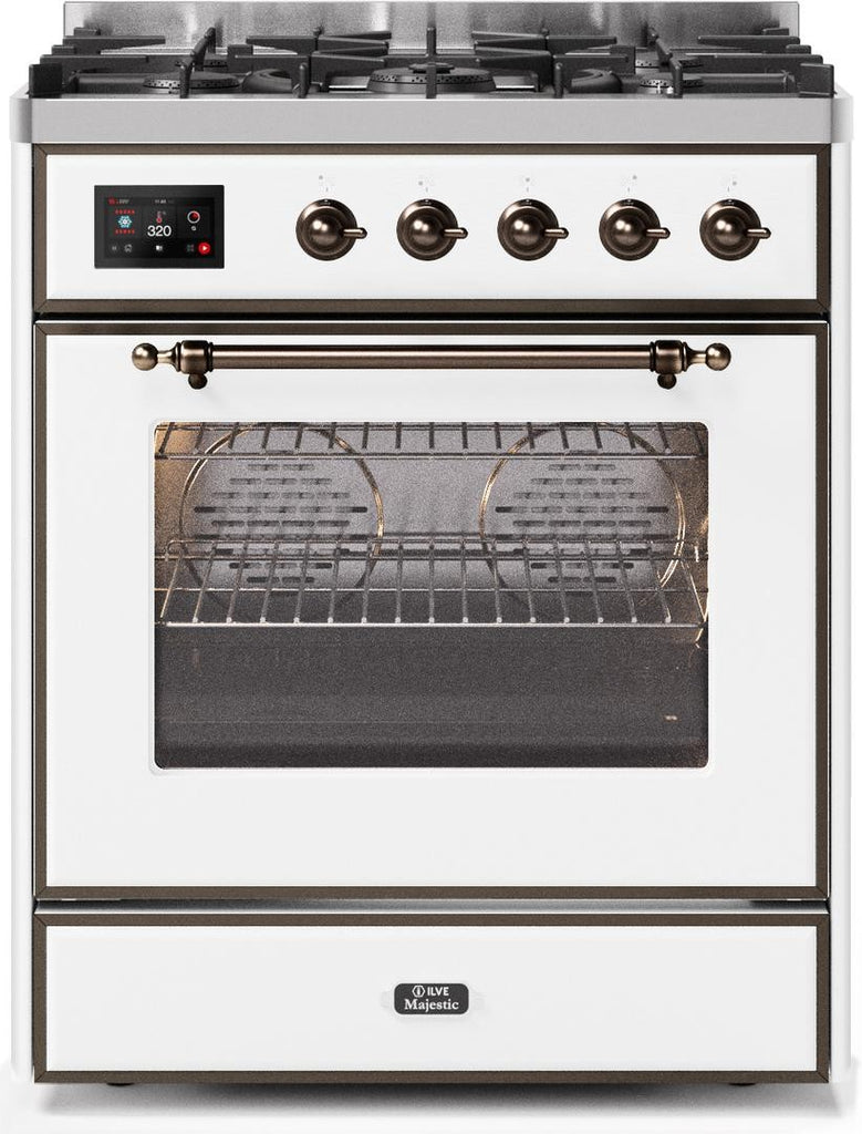 "Majestic II Series Freestanding Liquid Propane Dual Fuel Range with 5 Sealed Brass Non Stick Coated Burners   2.3 cu. ft. Oven Capacity   TFT Oven Control Display   Triple Glass Cool Door Oven   Bronze Trim   in White""UM30DNE3WHBLP 30 - America Best Appliances, LLC"