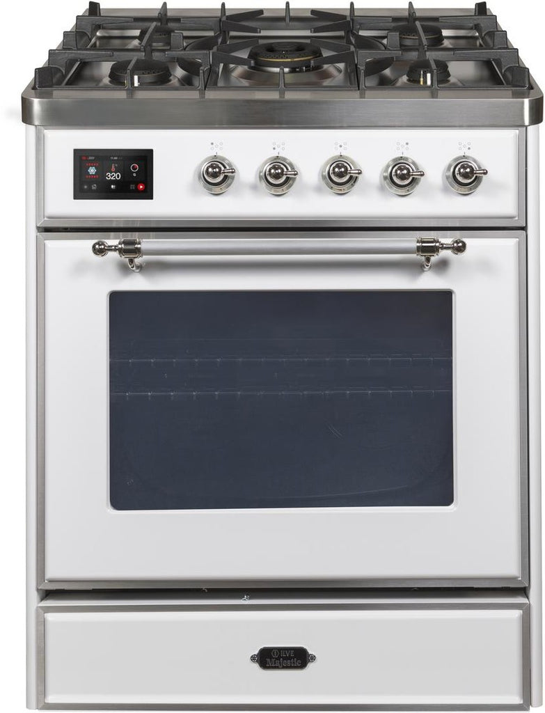 "Majestic II Series Freestanding Liquid Propane Dual Fuel Range with 5 Sealed Brass Non Stick Coated Burners   2.3 cu. ft. Oven Capacity   TFT Oven Control Display   Triple Glass Cool Door Oven   Chrome Trim   in White""UM30DNE3WHCLP 30 - America Best Appliances, LLC"