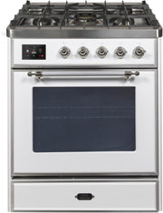 "Majestic II Series Freestanding Dual Fuel Range with 5 Sealed Brass Non Stick Coated Burners   2.3 cu. ft. Oven Capacity   TFT Oven Control Display   Triple Glass Cool Door Oven   Chrome Trim   in White""UM30DNE3WHC 30 - America Best Appliances, LLC"