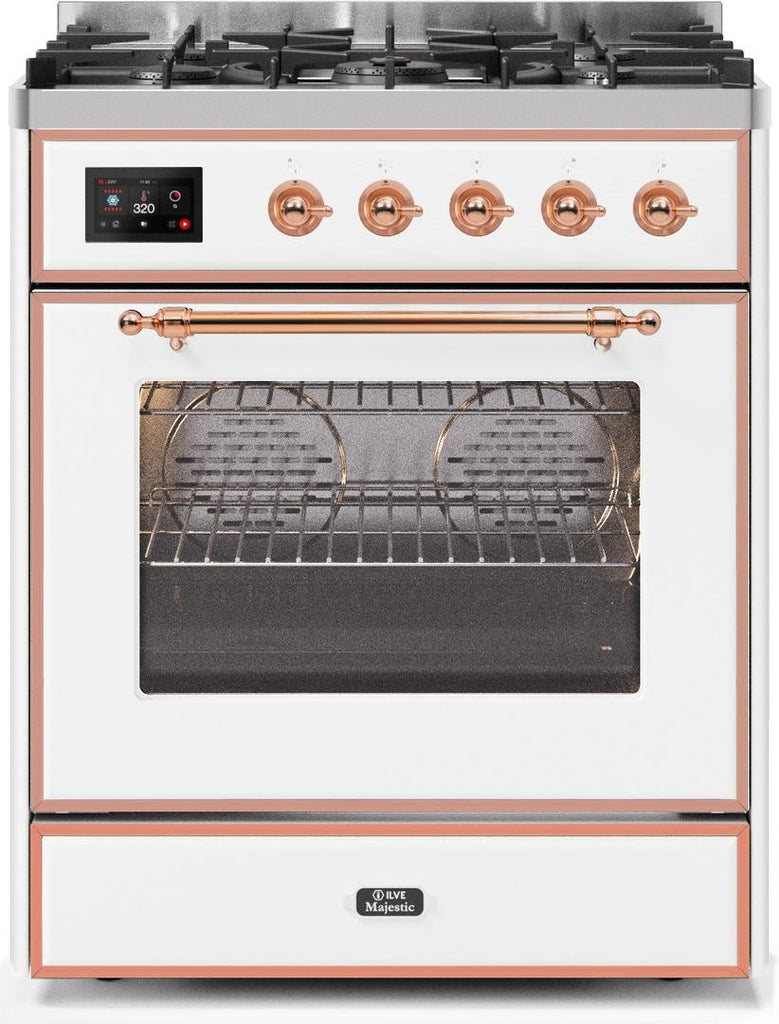 "Majestic II Series Freestanding Liquid Propane Dual Fuel Range with 5 Sealed Brass Non Stick Coated Burners   2.3 cu. ft. Oven Capacity   TFT Oven Control Display   Triple Glass Cool Door Oven   Copper Trim   in White""UM30DNE3WHPLP 30 - America Best Appliances, LLC"