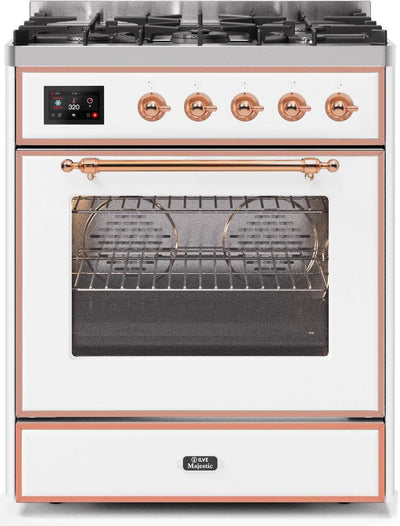"Majestic II Series Freestanding Dual Fuel Range with 5 Sealed Brass Non Stick Coated Burners   2.3 cu. ft. Oven Capacity   TFT Oven Control Display   Triple Glass Cool Door Oven   Copper Trim   in White""UM30DNE3WHP 30 - America Best Appliances, LLC"