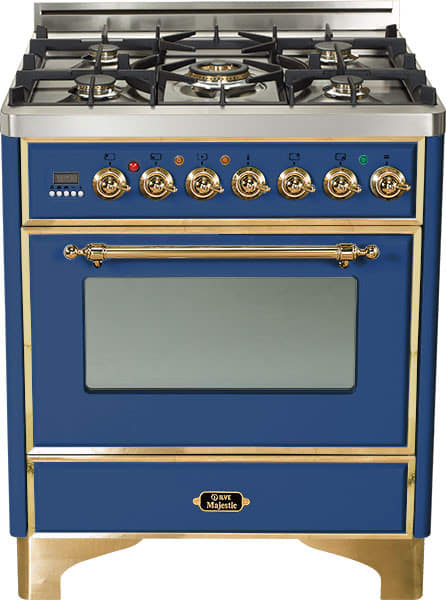 "Majestic Series Freestanding Dual Fuel Range with 5 Sealed Burners   3.0 cu. ft. Primary Oven Capacity   Convection Oven   Warming Drawer   Brass Trim   in Midnight Blue""UM76DMPBL 30 - America Best Appliances, LLC"