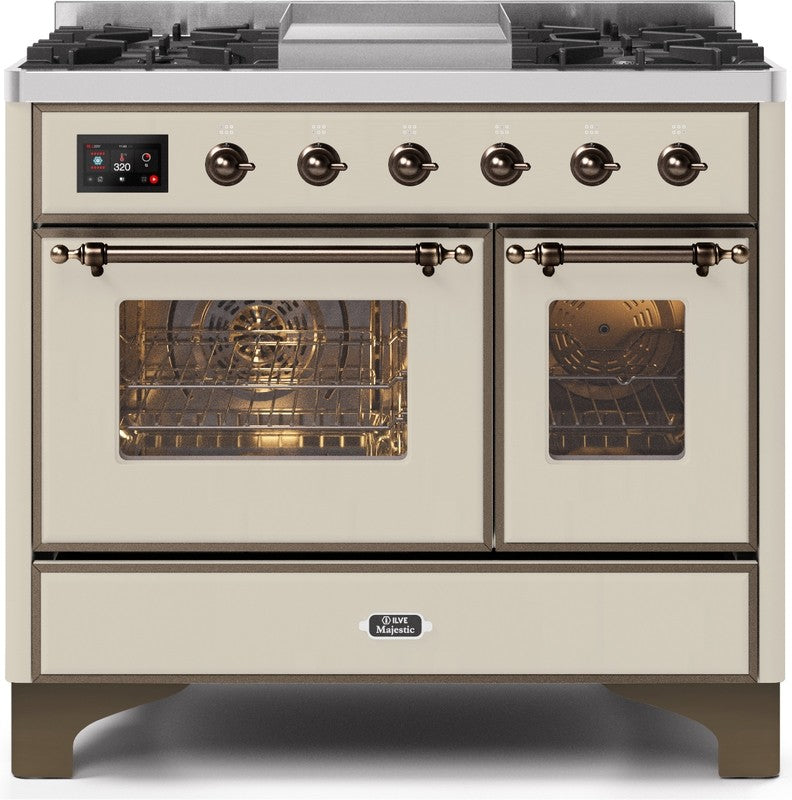 "Majestic II Series Dual Fuel Range with 4 Sealed Burners and Griddle   3.88 cu. ft. Total Oven Capacity   TFT Oven Control Display   Triple Glass Cool Door Oven   Bronze Trim   in Antique White""UMD10FDNS3AWBLP 40 - America Best Appliances, LLC"