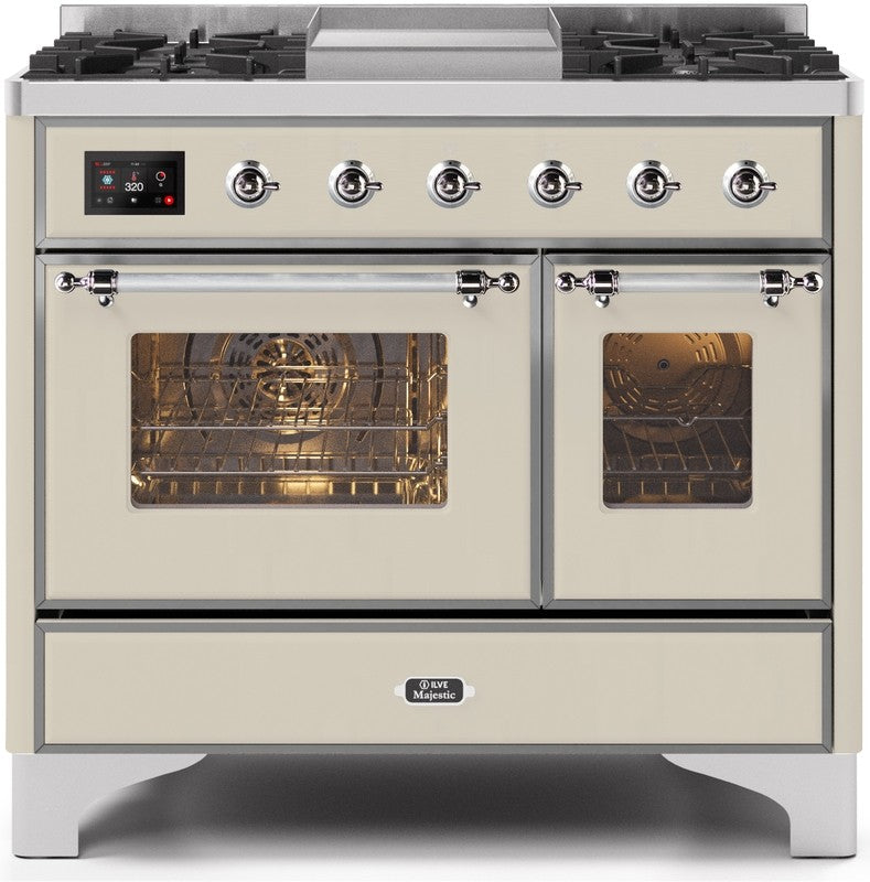 "Majestic II Series Dual Fuel Range with 4 Sealed Burners and Griddle   3.88 cu. ft. Total Oven Capacity   TFT Oven Control Display   Triple Glass Cool Door Oven   Chrome Trim   in Antique White""UMD10FDNS3AWCLP 40 - America Best Appliances, LLC"