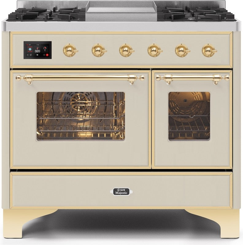"Majestic II Series Dual Fuel Range with 4 Sealed Burners and Griddle   3.88 cu. ft. Total Oven Capacity   TFT Oven Control Display   Triple Glass Cool Door Oven   Brass Trim   in Antique White""UMD10FDNS3AWG 40 - America Best Appliances, LLC"