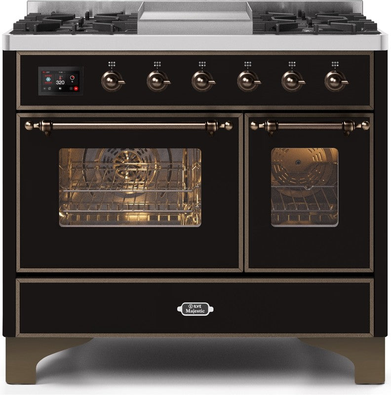 "Majestic II Series Dual Fuel Range with 4 Sealed Burners and Griddle   3.88 cu. ft. Total Oven Capacity   TFT Oven Control Display   Triple Glass Cool Door Oven   Bronze Trim   in Glossy Black""UMD10FDNS3BKBLP 40 - America Best Appliances, LLC"