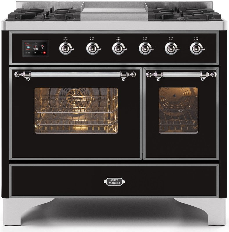 "Majestic II Series Dual Fuel Range with 4 Sealed Burners and Griddle   3.88 cu. ft. Total Oven Capacity   TFT Oven Control Display   Triple Glass Cool Door Oven   Chrome Trim   in Glossy Black""UMD10FDNS3BKC 40 - America Best Appliances, LLC"