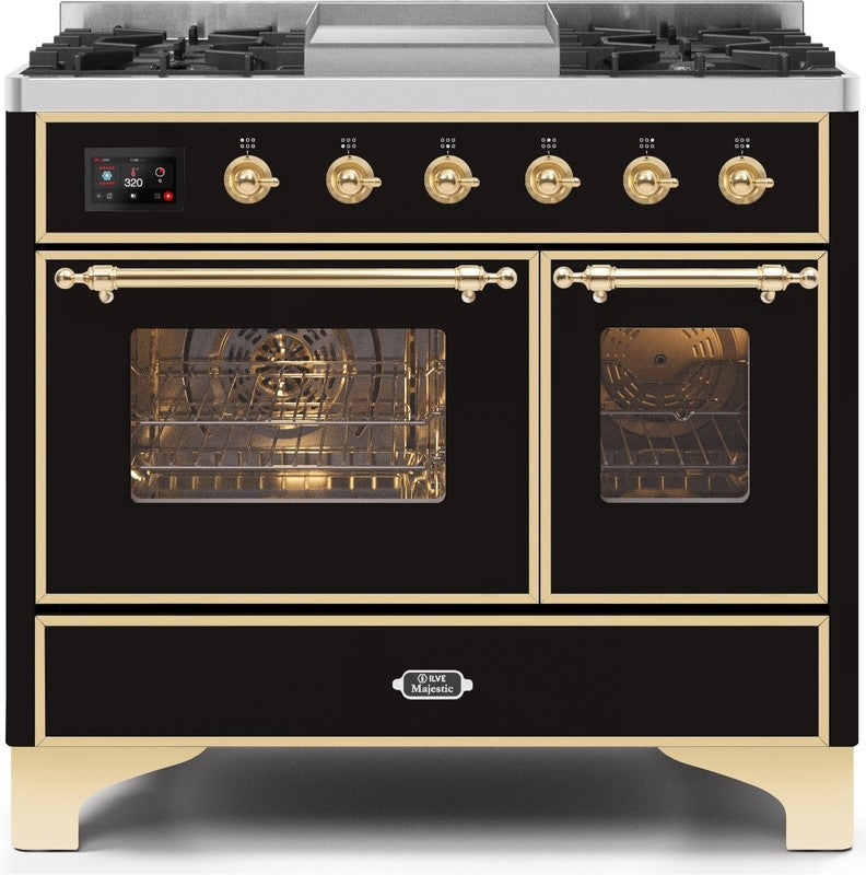 "Majestic II Series Dual Fuel Range with 4 Sealed Burners and Griddle   3.88 cu. ft. Total Oven Capacity   TFT Oven Control Display   Triple Glass Cool Door Oven   Brass Trim   in Glossy Black""UMD10FDNS3BKGLP 40 - America Best Appliances, LLC"