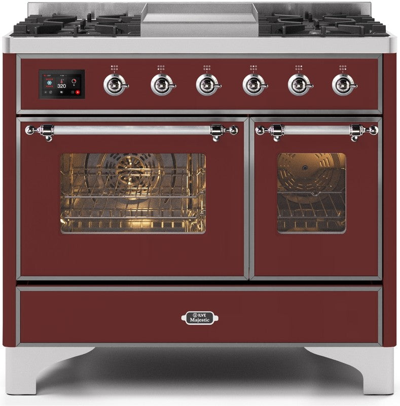 "Majestic II Series Dual Fuel Range with 4 Sealed Burners and Griddle   3.88 cu. ft. Total Oven Capacity   TFT Oven Control Display   Triple Glass Cool Door Oven   Chrome Trim   in Burgundy""UMD10FDNS3BUC 40 - America Best Appliances, LLC"