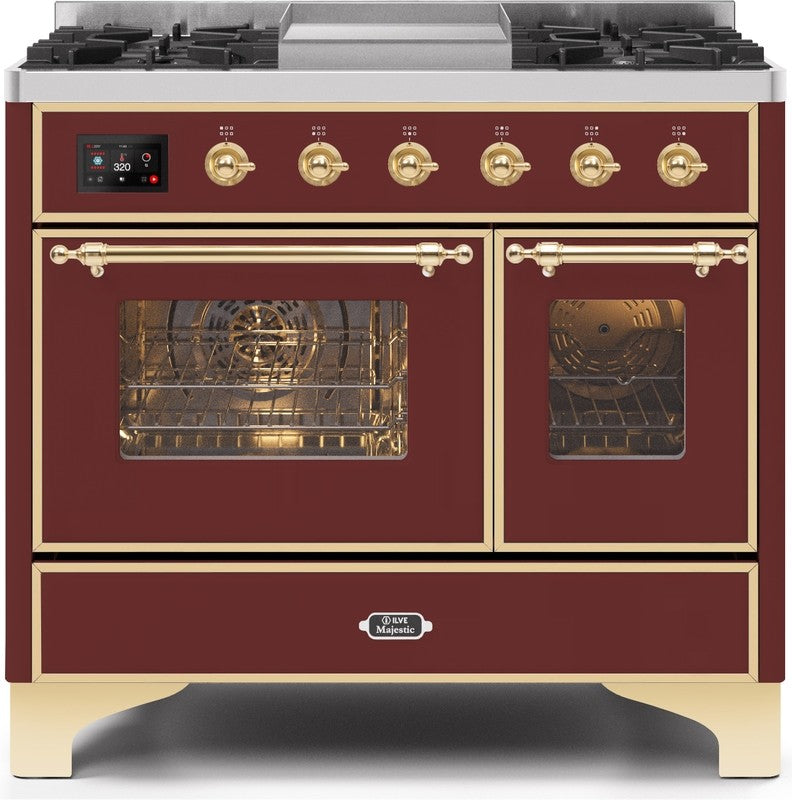 "Majestic II Series Dual Fuel Range with 4 Sealed Burners and Griddle   3.88 cu. ft. Total Oven Capacity   TFT Oven Control Display   Triple Glass Cool Door Oven   Brass Trim   in Burgundy""UMD10FDNS3BUGLP 40 - America Best Appliances, LLC"
