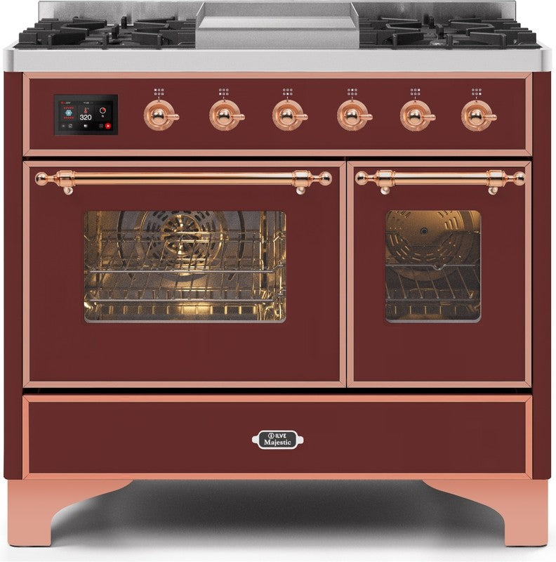 "Majestic II Series Dual Fuel Range with 4 Sealed Burners and Griddle   3.88 cu. ft. Total Oven Capacity   TFT Oven Control Display   Triple Glass Cool Door Oven   Copper Trim   in Burgundy""UMD10FDNS3BUP 40 - America Best Appliances, LLC"