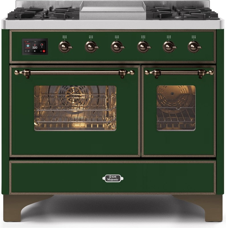 "Majestic II Series Dual Fuel Range with 4 Sealed Burners and Griddle   3.88 cu. ft. Total Oven Capacity   TFT Oven Control Display   Triple Glass Cool Door Oven   Bronze Trim   in Emerald Green""UMD10FDNS3EGBLP 40 - America Best Appliances, LLC"