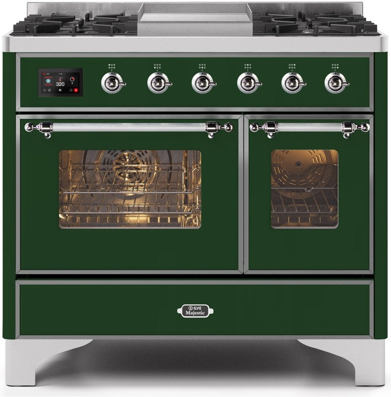 "Majestic II Series Dual Fuel Range with 4 Sealed Burners and Griddle   3.88 cu. ft. Total Oven Capacity   TFT Oven Control Display   Triple Glass Cool Door Oven   Chrome Trim   in Emerald Green""UMD10FDNS3EGC 40 - America Best Appliances, LLC"
